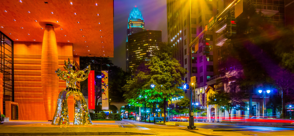 night time on streets of charlotte north carolina